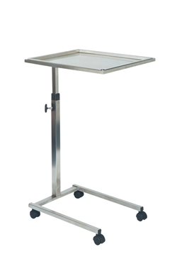 Table de Mayo, inox, L 56,5 cm x l 43,5 cm, haut variable 79 à 128 cm